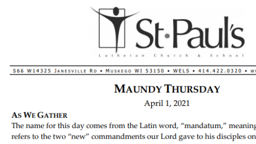 Worship Folder 4-1-21 (Maundy Thursday)